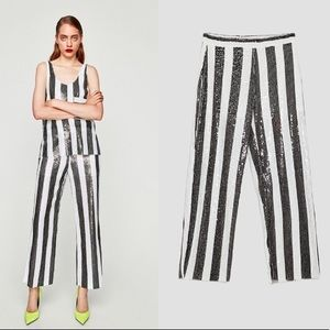 Zara striped sequined pants